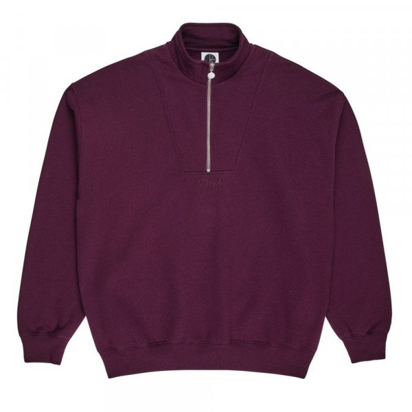 POLAR HOOD ZIP NECK SWEATSHIRT PRUNE F19