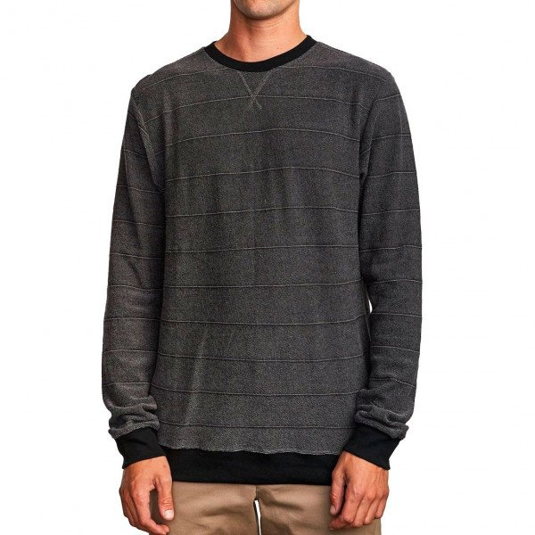 RVCA HOOD LUXURY LS CREW BLACK F19