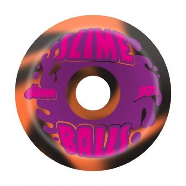SLIME BALLS SPLAT BLACK ORANGE SWIRL 60 MM 97A