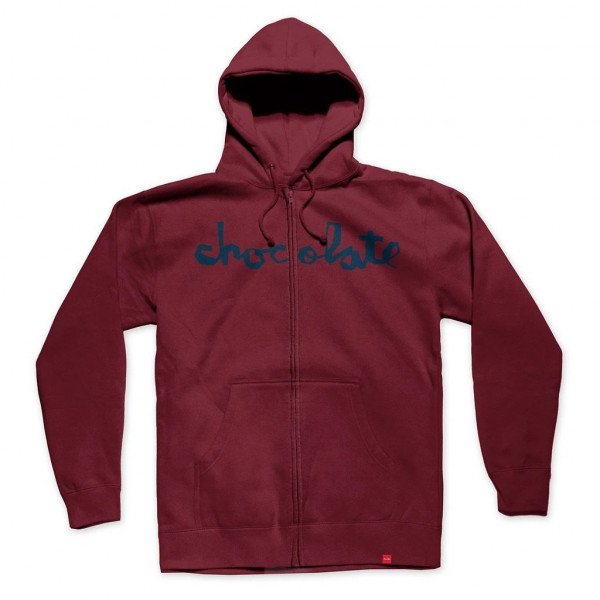 CHOCOLATE ZIP-HOOD CHUNK LINE ZIP UP BURGUNDY H19