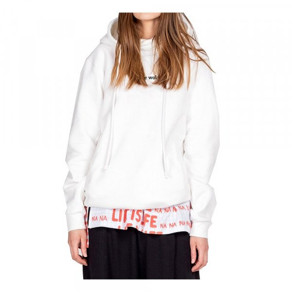 ONE WOLF HOOD PLAIN WHITE HOODIE (BRUSHED)