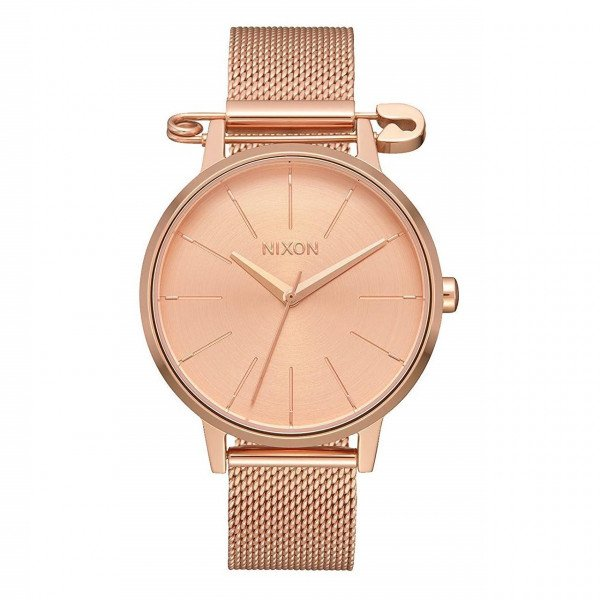 NIXON PULKSTENIS KENSINGTON MILANESE ROSE GOLD SAFETY