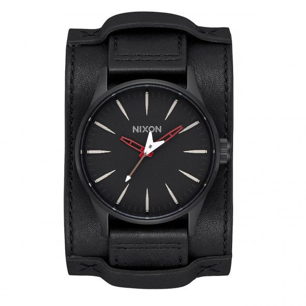 NIXON PULKSTENIS SENTRY LEATHER BLACK RED SEEK DESTROY