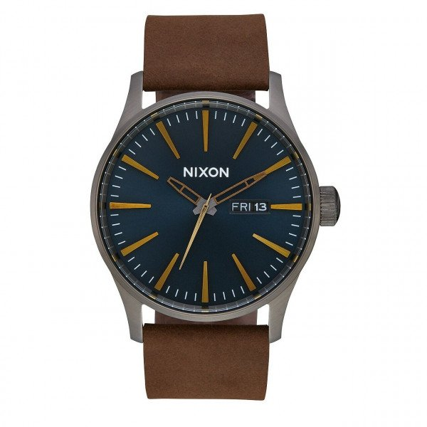 NIXON PULKSTENIS SENTRY LEATHER GUNMETAL INDIGO BROWN