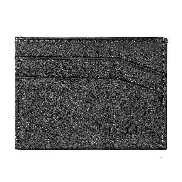 NIXON MAKS FLACO LEATHER CARD WALLET BLACK