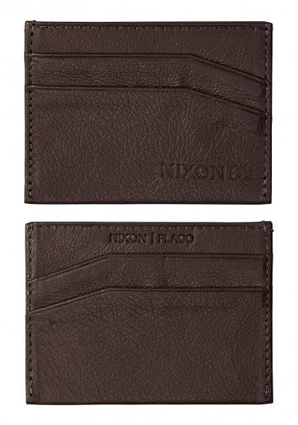 NIXON MAKS FLACO LEATHER CARD WALLET BROWN