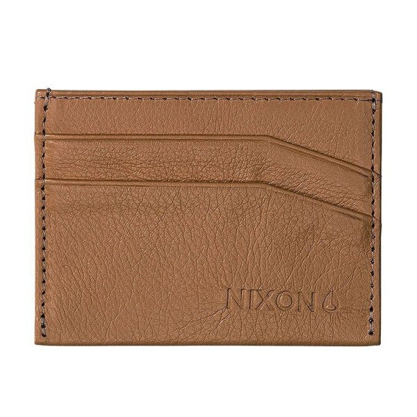 NIXON MAKS FLACO LEATHER CARD WALLET TAN