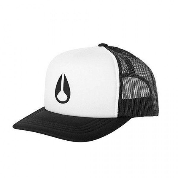 NIXON CEPURE BYRON FOAM TRUCKER HAT WHITE BLACK