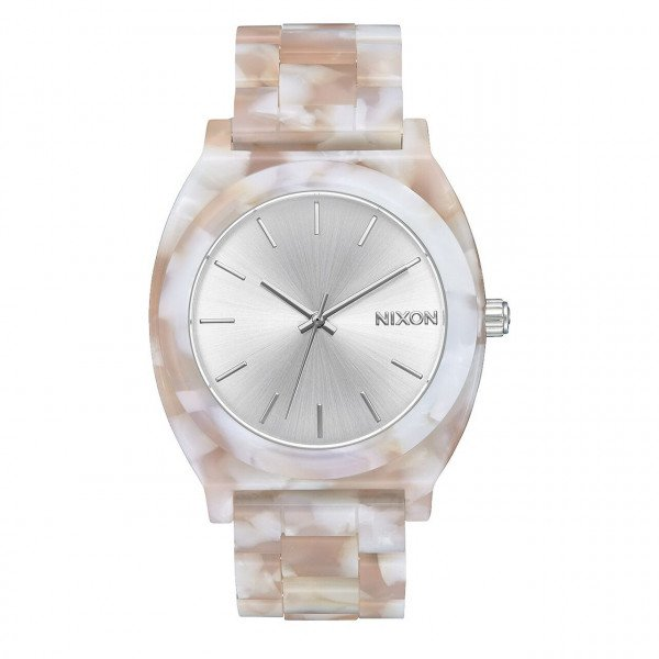 NIXON WATCH TIME TELLER ACETATE PINK SILVER
