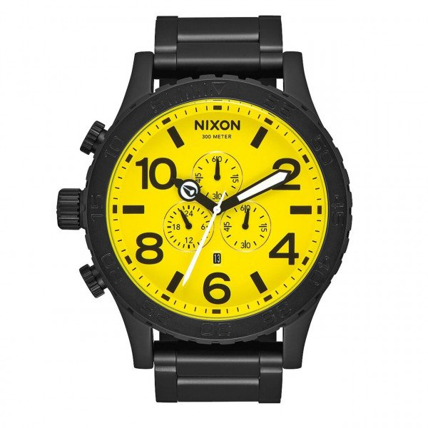 NIXON PULKSTENIS 51-30 CHRONO ALL BLACK YELLOW