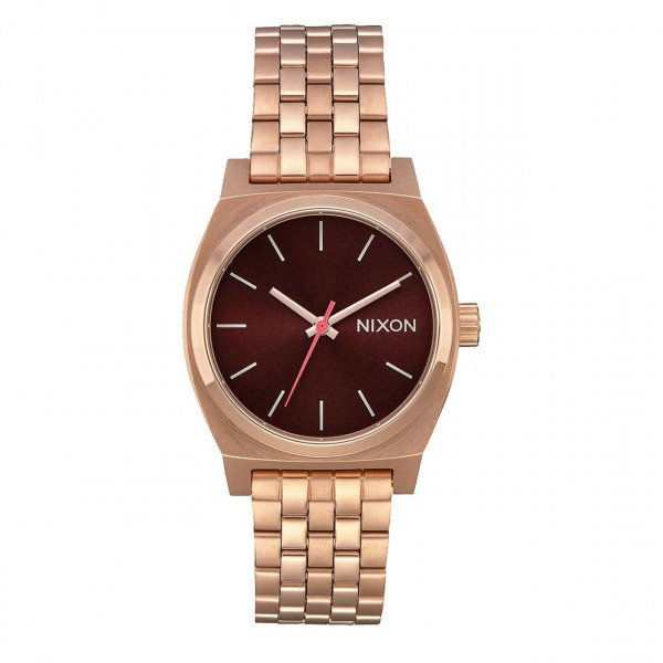 NIXON PULKSTENIS MEDIUM TIME TELLER ALL ROSE GOLD BROWN
