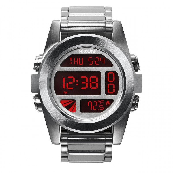 NIXON PULKSTENIS UNIT SS SILVER RED