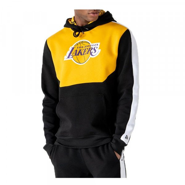 NEW ERA HOOD NBA COLOUR BLOCK HOODY LOS ANGELES LAKERS BLK AGD S20