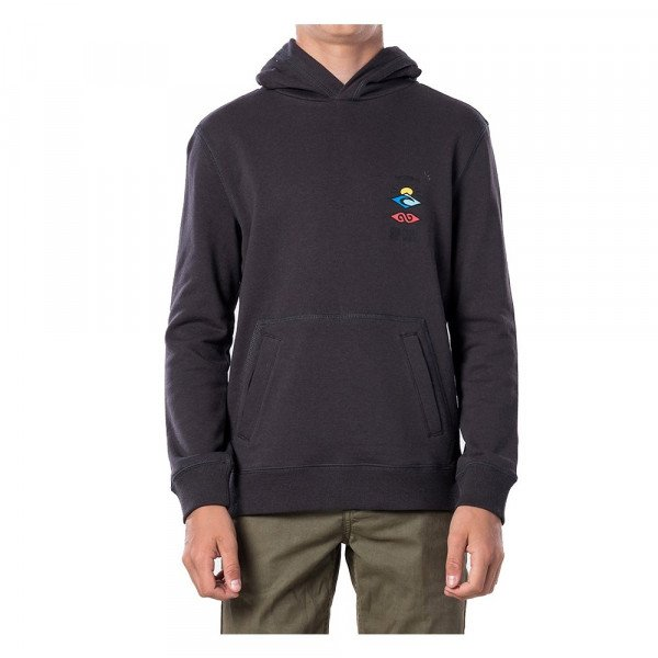 RIP CURL HOOD THE SEARCH HOODED KIDS WASHED BLACK S20