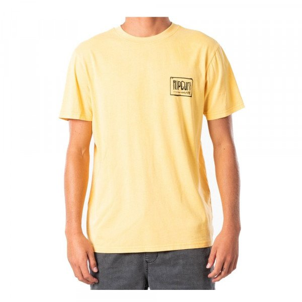 RIP CURL T-SHIRT NATIVE GLITCH TEE WASHED YELLOW S20