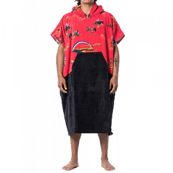 RIP CURL DVIELIS HOPPER PONCHO BRIGHT RED