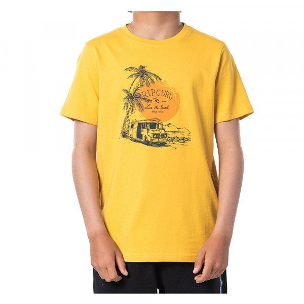RIP CURL T-SHIRT COCHE SS TEE KIDS WASHED YELLOW S20