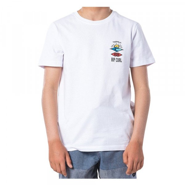 RIP CURL T-SHIRT THE SEARCH SS TEE KIDS OPTICAL WHITE S20