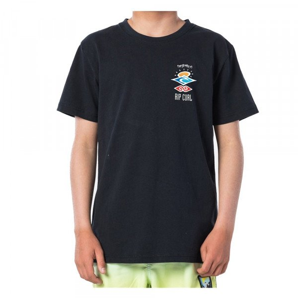 RIP CURL T-SHIRT THE SEARCH SS TEE KIDS WASHED BLACK S20