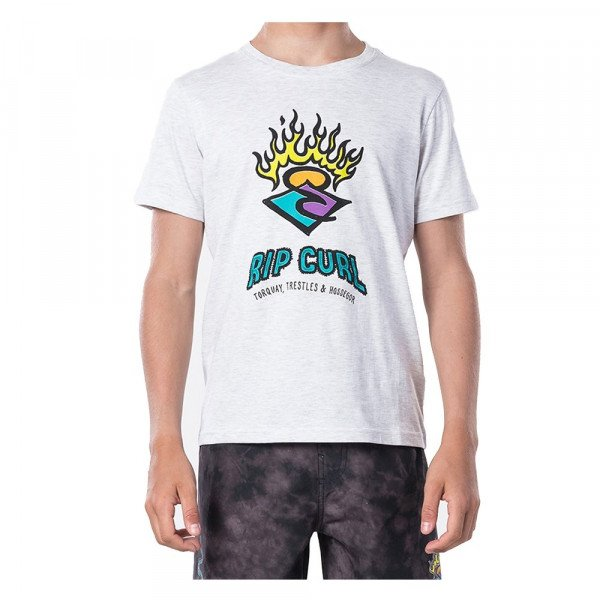 RIP CURL T-SHIRT SURF STICKERS SS TEE KIDS WHITE MARLE S20