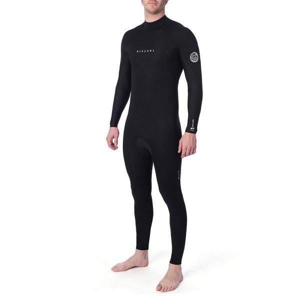 RIP CURL WETSUIT DAWN PATROL 43 GB BACK ZIP BLACK S20