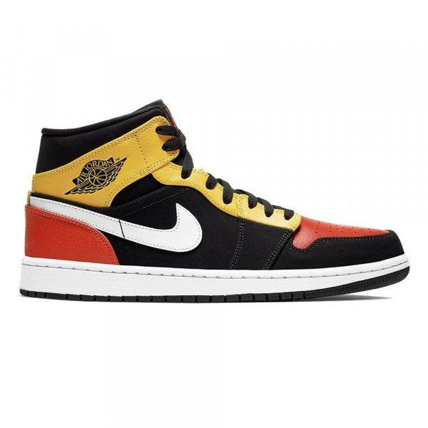 NIKE APAVI AIR JORDAN 1 MID SE BLACK AMARILLO ORANGE S20