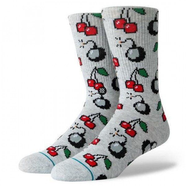 STANCE SOCKS BLUE FOUNDATION CHERRI BOMB HEATHER GREY
