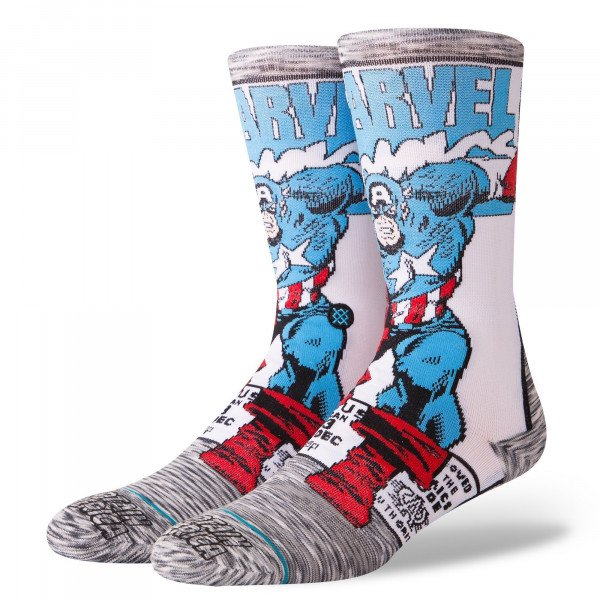 STANCE SOCKS BLUE FOUNDATION CAPTAIN AMERICA COMIC GREY