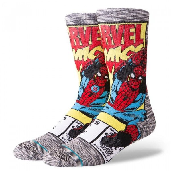 STANCE SOCKS BLUE FOUNDATION SPIDERMAN COMIC GREY