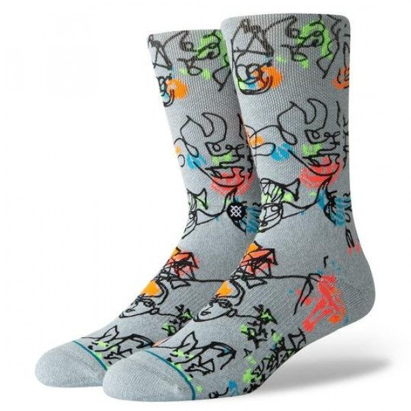 STANCE ZEĶES BLUE FOUNDATION ELECTRIC SLIDE HEATHER GREY