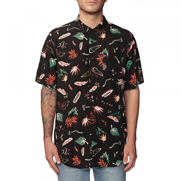 GLOBE KREKLS PSYCHOTROPICS SS SHIRT WASHED BLACK
