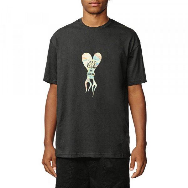 GLOBE T-SHIRT DEAD KOOKS FLAME HEART TEE WASHED BLACK S20