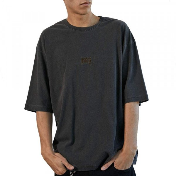 AFENDS T-SHIRT DISTRESSED STONE BLACK S20