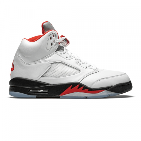 NIKE SHOES AIR JORDAN 5 RETRO WHITE FIRE RED BLACK