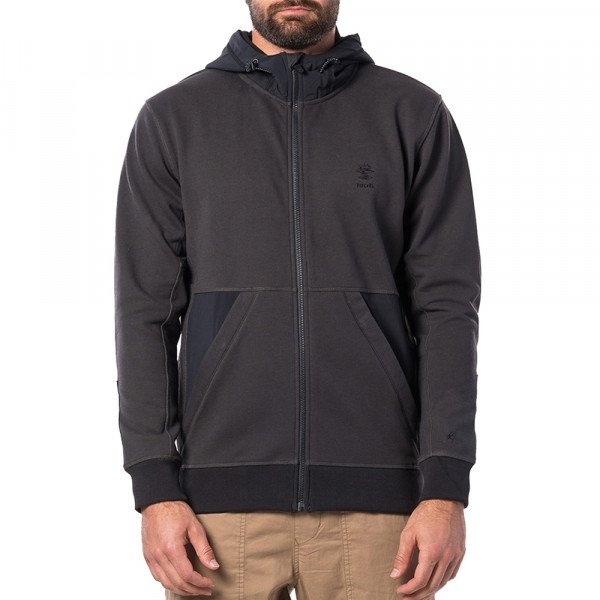 RIP CURL HOOD ADVENTUTER ANTI-SERIES FLEECE WASHED BLACK