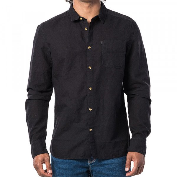 RIP CURL SHIRT ECO CRAFT LS WASHED BLACK