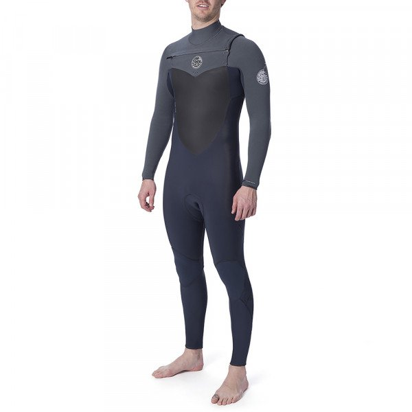 RIP CURL WETSUIT FLASHBOMB 43 GB CHEST ZIP GREY
