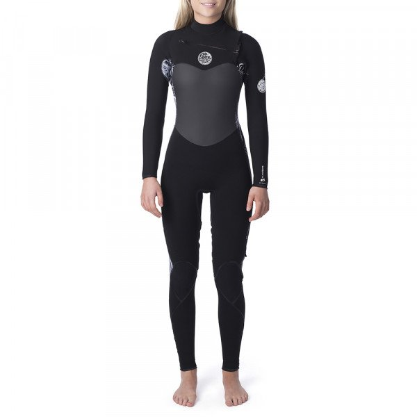 RIP CURL WETSUIT WMNS FLASHBOMB 53 GB CHEST ZIP BLACK WHITE