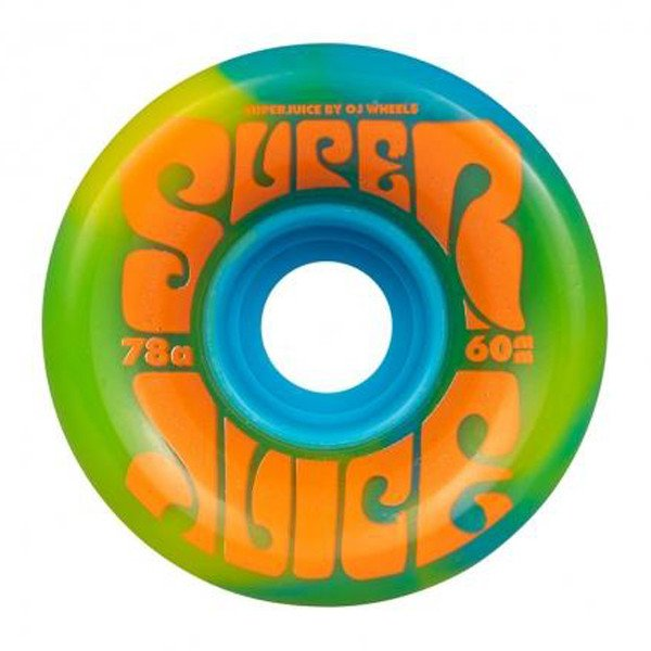 OJ WHEELS SUPER JUICE BLUE YELLOW SWIRL 60 MM