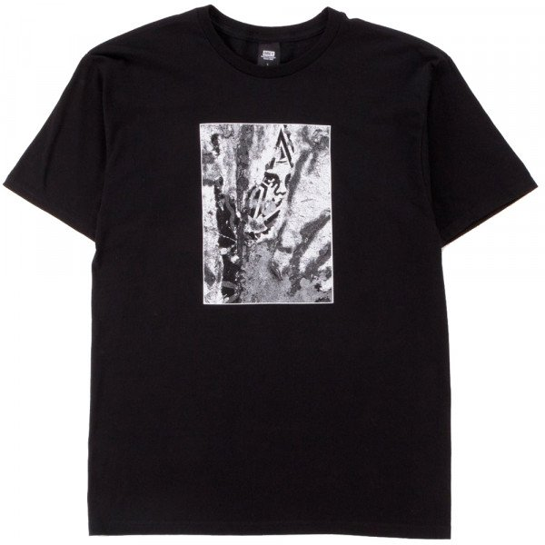 OBEY T-SHIRT TORN ICON STAR BLK