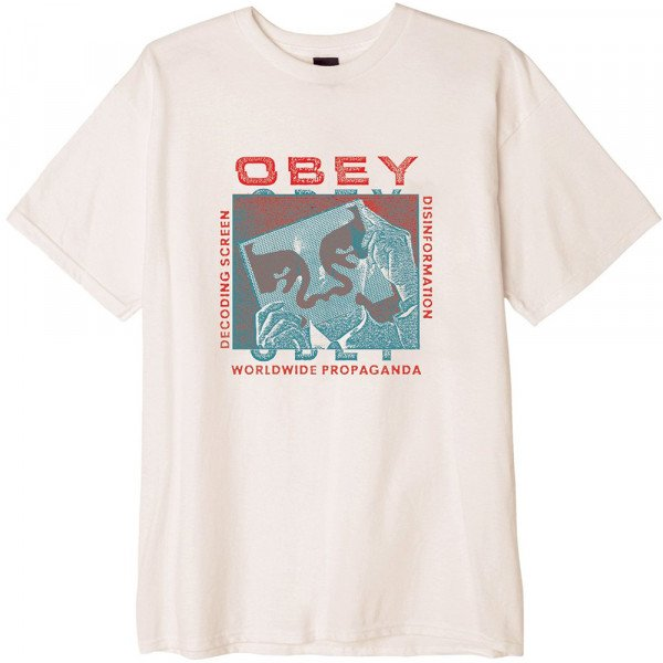 OBEY T-SHIRT DECODING SCREENS WHT