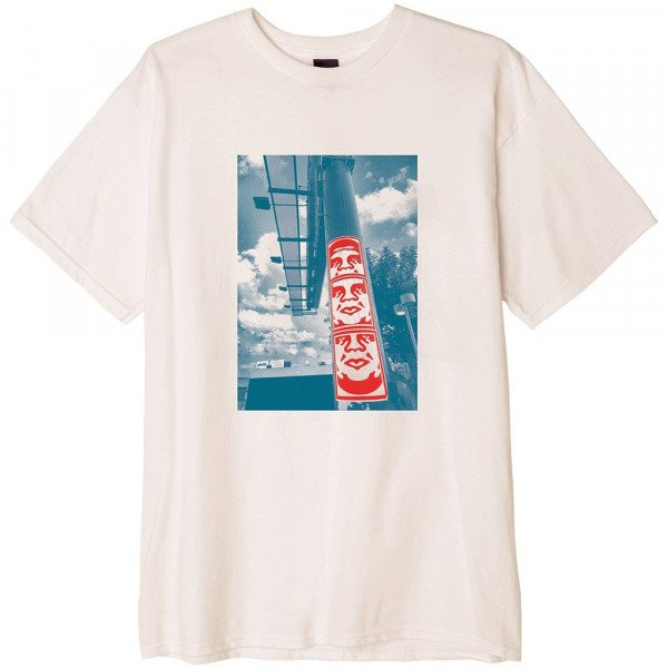 OBEY T-SHIRT 3 FACE CLOUDS NAT