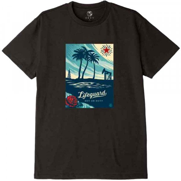 OBEY T-SHIRT LIFEGUARD NOT ON DUTY BLK
