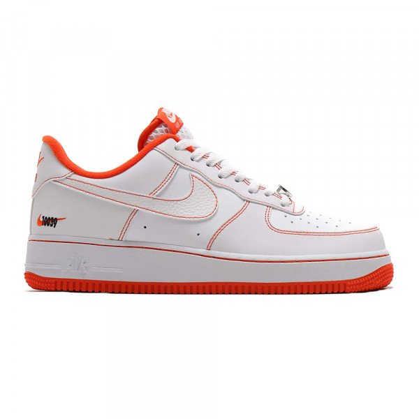NIKE APAVI AIR FORCE 1 07 LV8 EMB WHITE TEAM ORANGE BLACK
