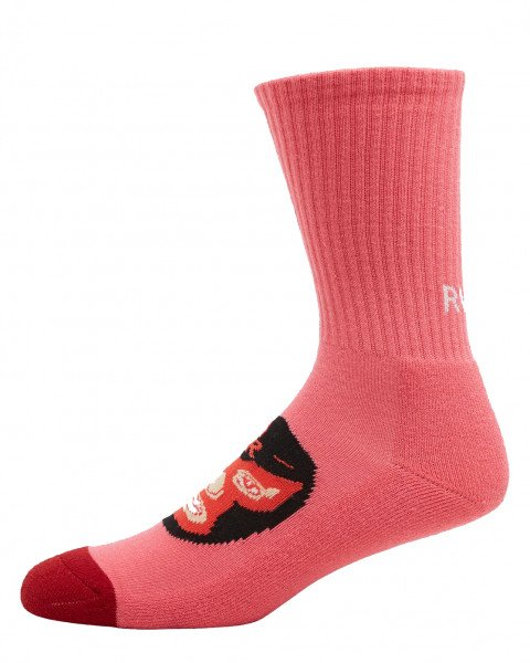 RVCA SOCKS HOT FUDGE CREW CORAL