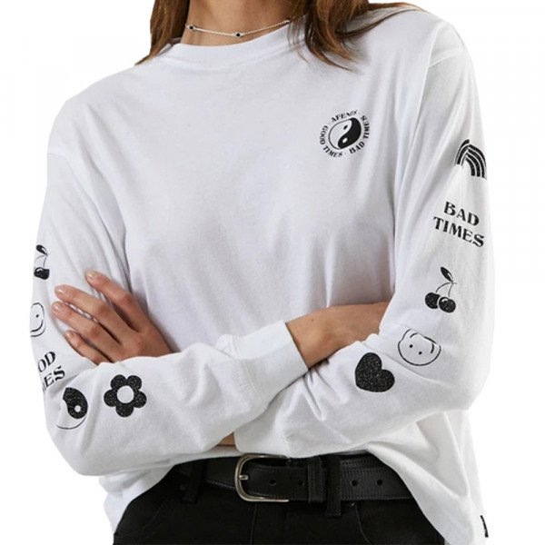 AFENDS LONGSLEEVE GOOD BAD GOOD WHITE