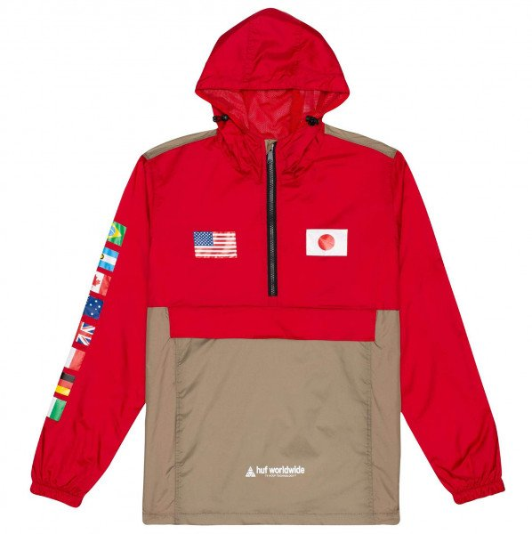 HUF JAKA FLAGS ANORAK CYBER RED