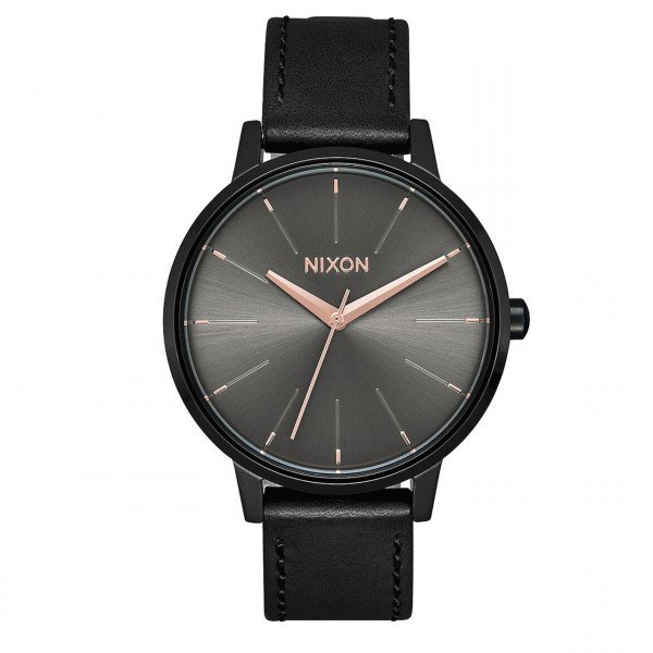 NIXON WATCH KENSIGTON LEATHER BLACK GUNMETAL