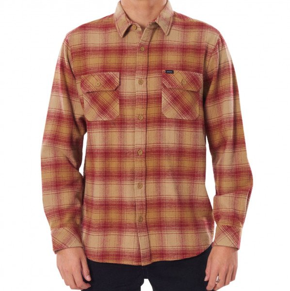 RIP CURL SHIRT COUNT L/S WASHED RED