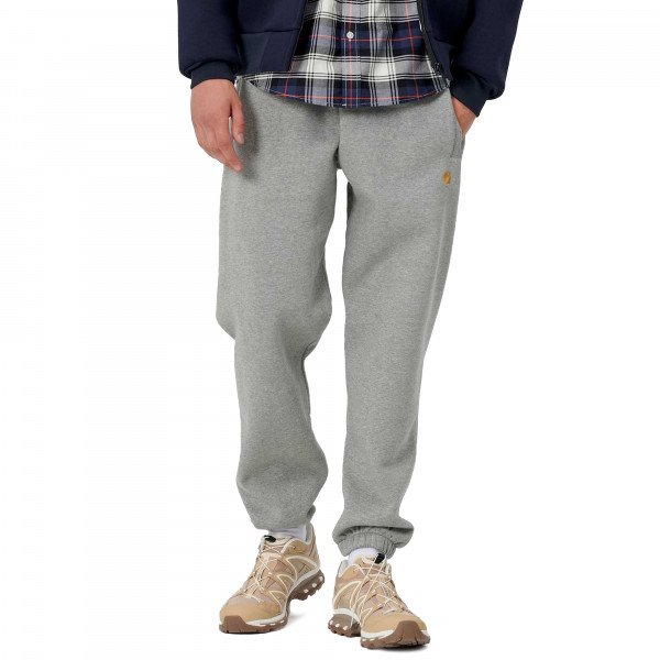 CARHARTT WIP PANTS CHASE SWEAT GREY HEATHER GOLD